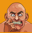 face of a cartoon bald funny man very frightened