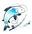 fishing rod with bait and fish vector image vector image