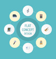 flat icons mp3 player quaver karaoke and other vector image vector image