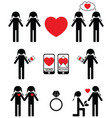 Gay women falling in love and engagement icons set vector image