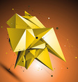 Gold spatial technological shape polygonal vector image