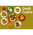 Greek cuisine dishes with fish and lamb icon vector image vector image