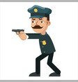 gun weapon attack shoot policeman character vector image vector image
