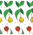 hand drawn seamless tulips pattern can be used vector image vector image