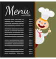 happy chef at menu blackboard vector image