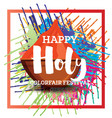 happy holi celebration poster with frame vector image