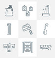 interior icons line style set with corner sofa vector image