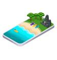 isometrics summer sports smartphone application vector image vector image