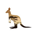 kangaroo double exposure tattoo art symbol of vector image
