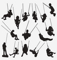 kids swing silhouettes vector image vector image