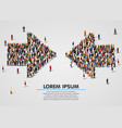 large group people in convergent arrows vector image vector image