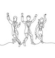 line drawing of three happy people - two men vector image