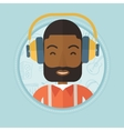 Man listening to music in headphones vector image vector image