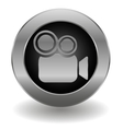 metallic video camera button vector image vector image