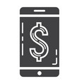 mobile banking glyph icon business and finance vector image vector image