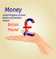 Money- The British Pound on palm vector image vector image