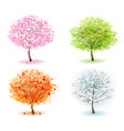 nature four stylized trees representing different vector image