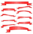 Ornament Decorated Red Ribbons Set on White vector image
