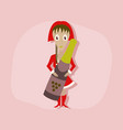 paper sticker on stylish background christmas girl vector image vector image