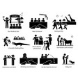 people tourist and family at zoo stick figure vector image