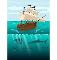 pirate ship and underwater scenery vector image