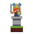 pixel character knight with sword and shield video vector image vector image