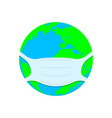 planet earth in a medical face mask vector image vector image