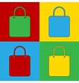 Pop art shopping bag icons vector image vector image