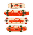 print for longboard vector image vector image