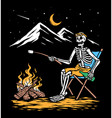 relaxing with campfire vector image vector image