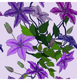 Seamless Floral Background with Clematis vector image vector image
