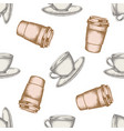 seamless pattern with hand drawn pastel coffee vector image