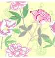 Seamless pattern with pink peonies and rose vector image vector image