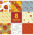 set of eight seamless autumnal backgrounds vector image