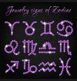 set of jewelry icons with signs of zodiac vector image