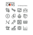 set of unique thin line icons banking and money vector image