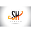 sh s h letter logo with fire flames design vector image vector image