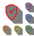 shield sign as protection and insurance symbol set vector image
