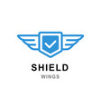 shield with wings logo template abstract symbol vector image vector image