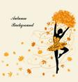tender ballerina is holding maple leaves vector image