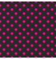 Tile pink polka dots on black background vector image vector image