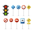 Traffic Light and Road Sign Set vector image vector image