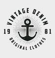vintage denim print for t-shirt vector image vector image