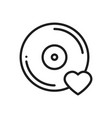 vinyl line icon favorite song vinyl record disco vector image vector image