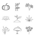 world of plant icons set outline style vector image vector image