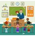 School classroom with schoolchild pupils and vector image