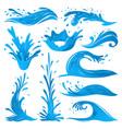 set of water splashes wave twirl isolated surge vector image