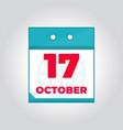 17 october flat daily calendar icon vector image vector image