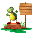 A trunk with a turtle near the wooden signboard vector image vector image