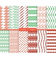 Bright and simple red red and green pattern set vector image vector image